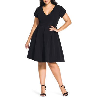 Plus Size City Chic Bow Sleeve Fit & Flare Dress, Black