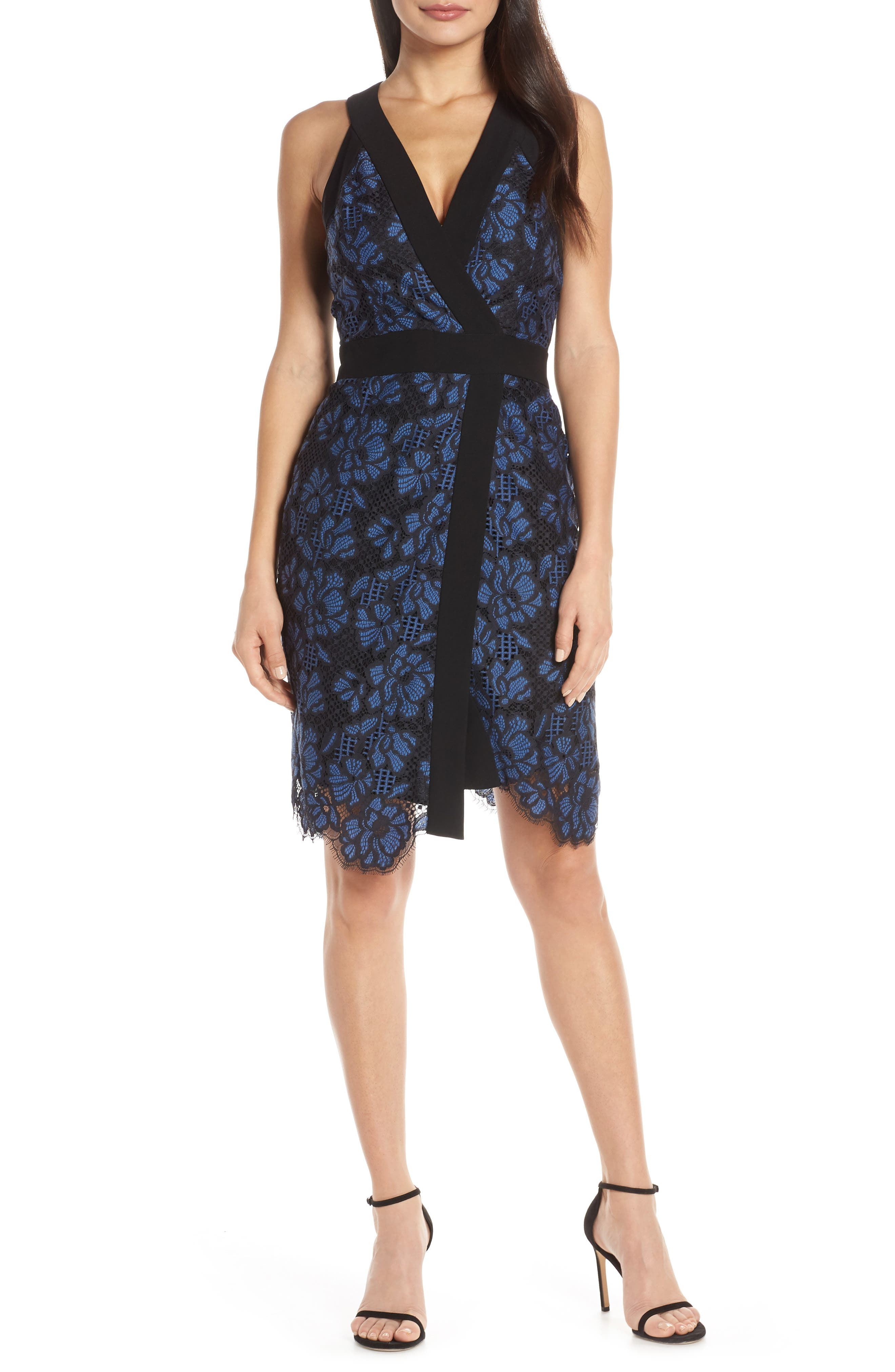 Harlyn Two-Tone Lace Surplice Cocktail Dress, Black