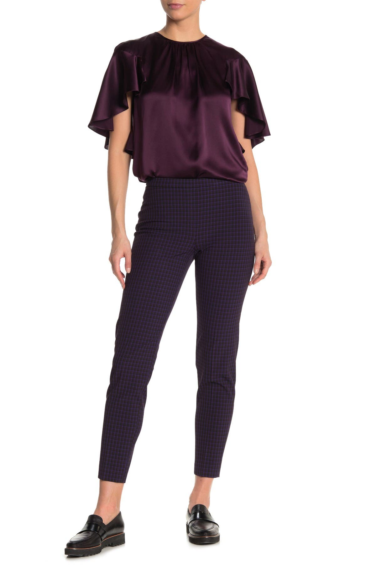 Image of Elie Tahari Marcia Checked Cropped Pants
