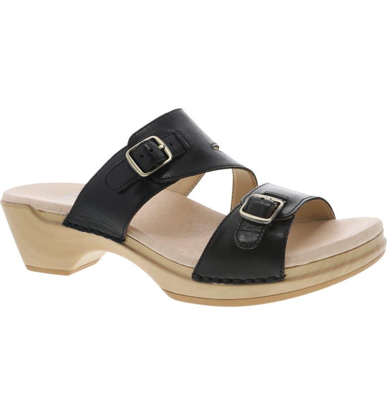 DANSKO Karena Slide Sandal, Main, color, BLACK BURNISHED LEATHER