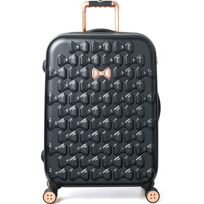Ted Baker London Medium Beau Bow Embossed Four-Wheel 27-Inch Trolley Suitcase - Black