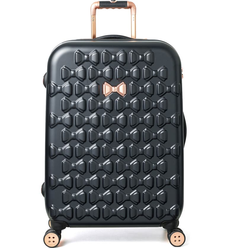 TED BAKER LONDON Medium Beau Bow Embossed Four-Wheel 27-Inch Trolley Suitcase, Main, color, BLACK