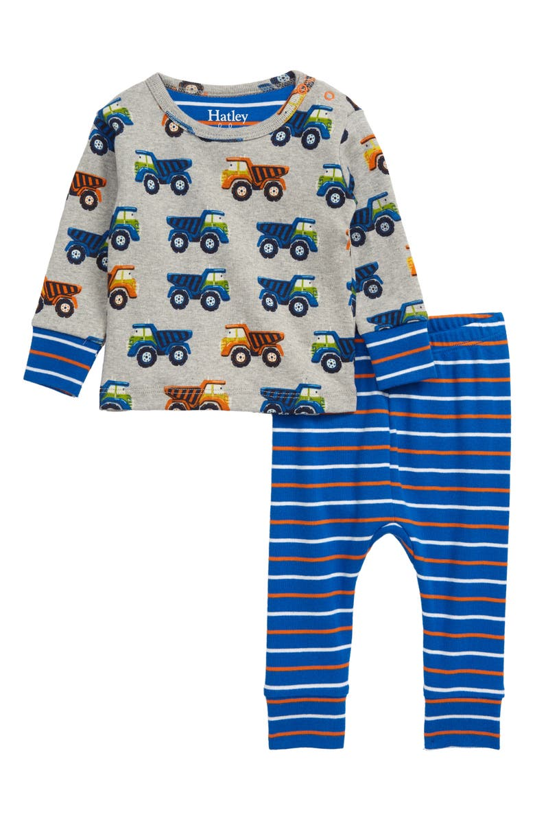 HATLEY Dump Trucks Organic Cotton Fitted Two-Piece Pajamas, Main, color, GREY