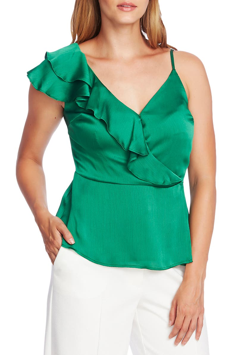 VINCE CAMUTO Asymmetrical Ruffle One-Shoulder Top, Main, color, DEEP EMERALD
