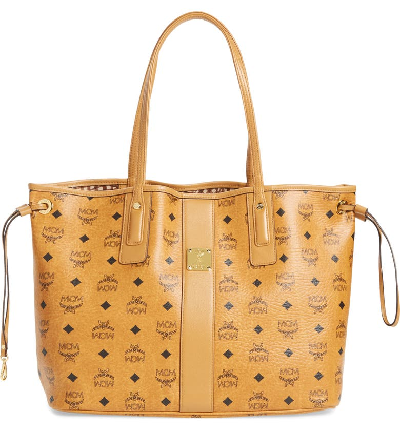 MCM Medium Liz Reversible Shopper, Main, color, COGNAC BROWN