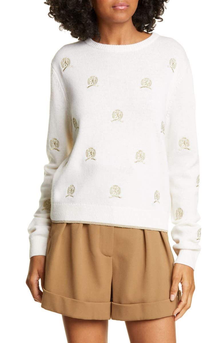 HILFIGER COLLECTION Crest Critter Embroidered Wool & Cashmere Sweater, Main, color, EGRET