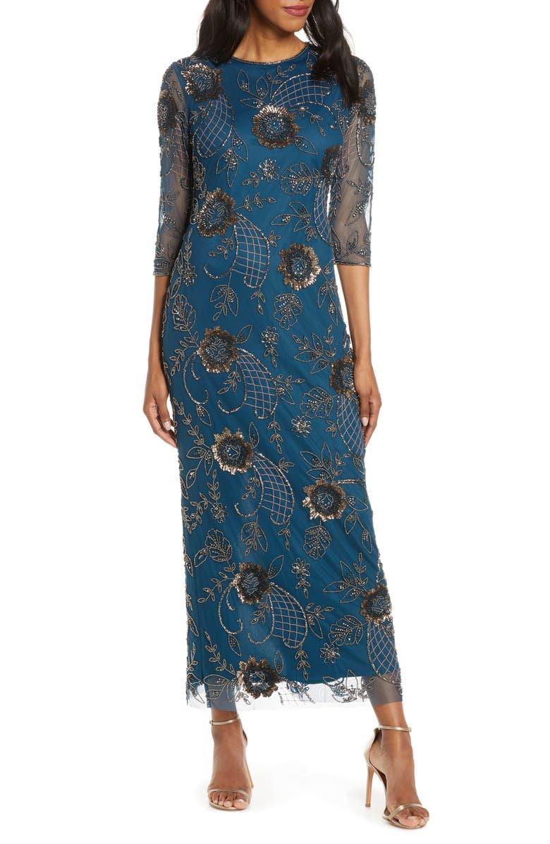 PISARRO NIGHTS Rose Motif Beaded Mesh Gown, Main, color, PETROL BLUE