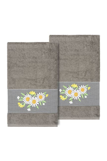 Image of LINUM HOME Daisy Embellished Bath Towel - Set of 2 - Dark Gray