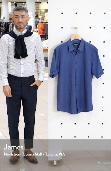 Murdoch Regular Fit Leaf Pattern Short Sleeve Linen Blend Button-Up Shirt, sales video thumbnail