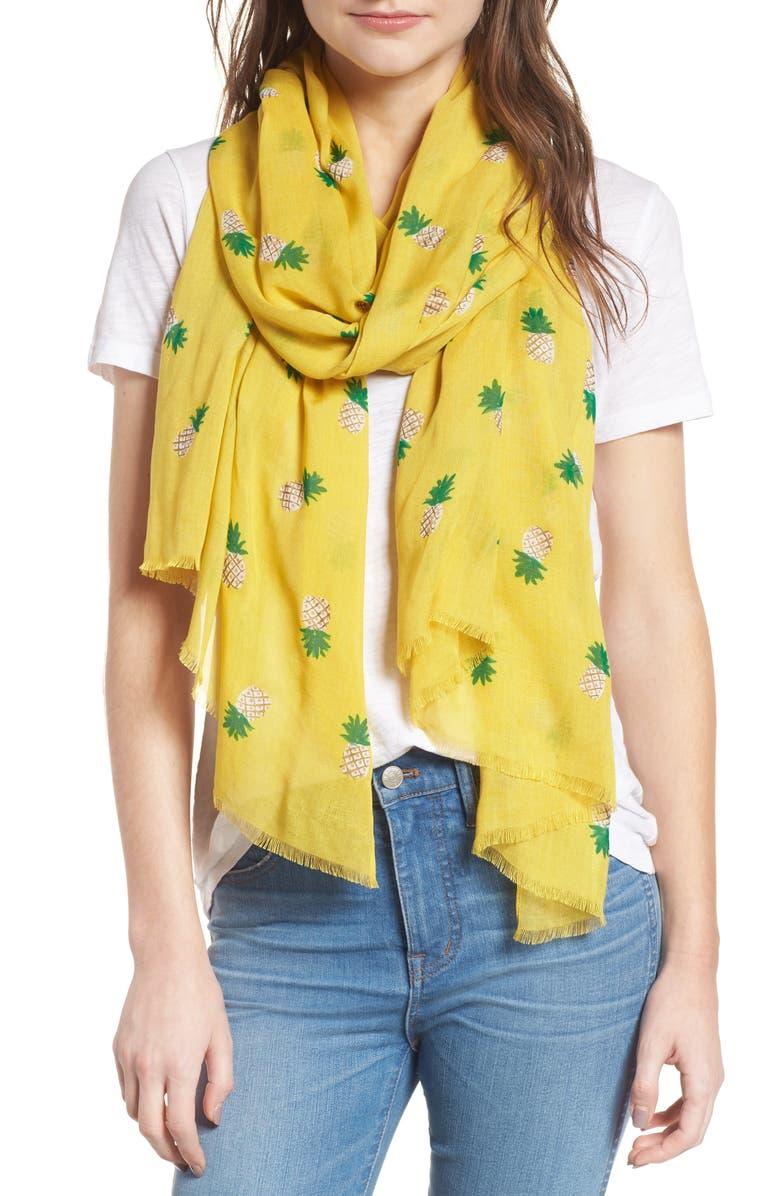 KATE SPADE NEW YORK pineapple scarf, Main, color, BAMBOO SHOOTDNU