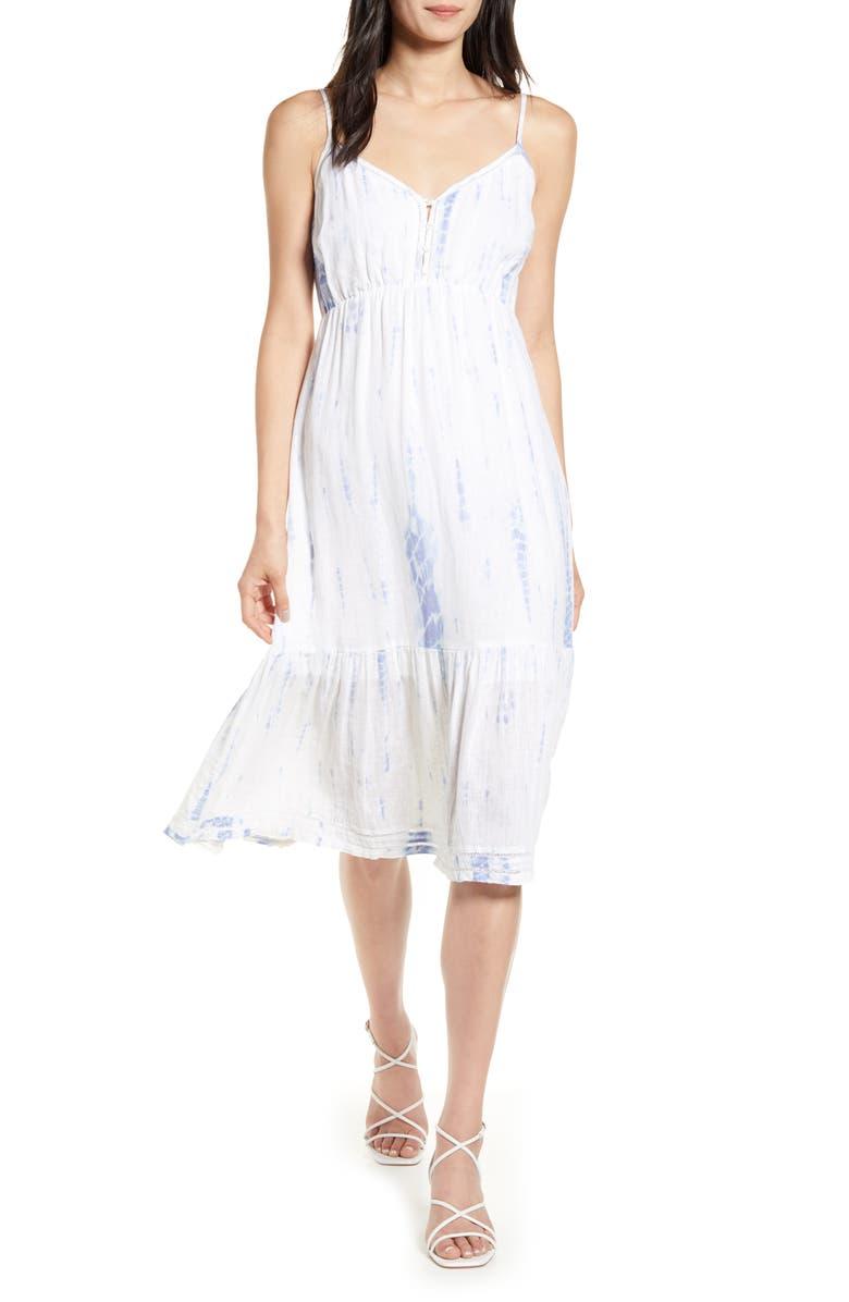 RAILS Delilah Openwork Linen Blend Midi Dress, Main, color, CLOUD TIE DYE