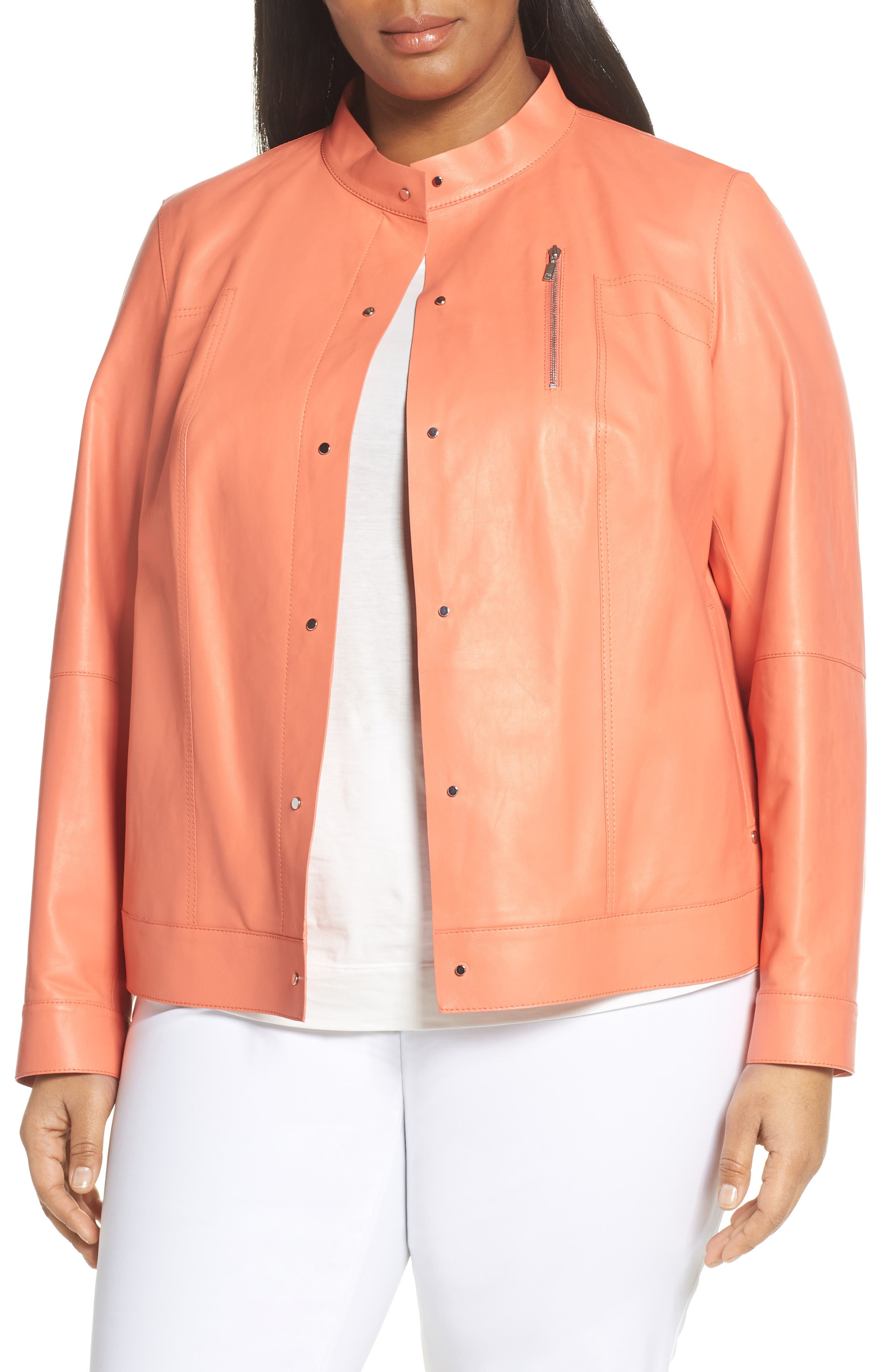 ,                             Galicia Leather Jacket,                             Main thumbnail 1, color,                             PEACH ROSE