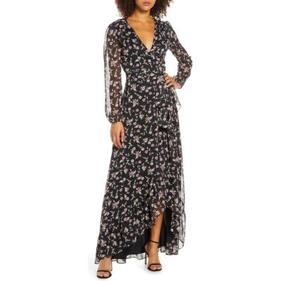 Wayf The Meryl Floral Long Sleeve Wrap Gown, Black