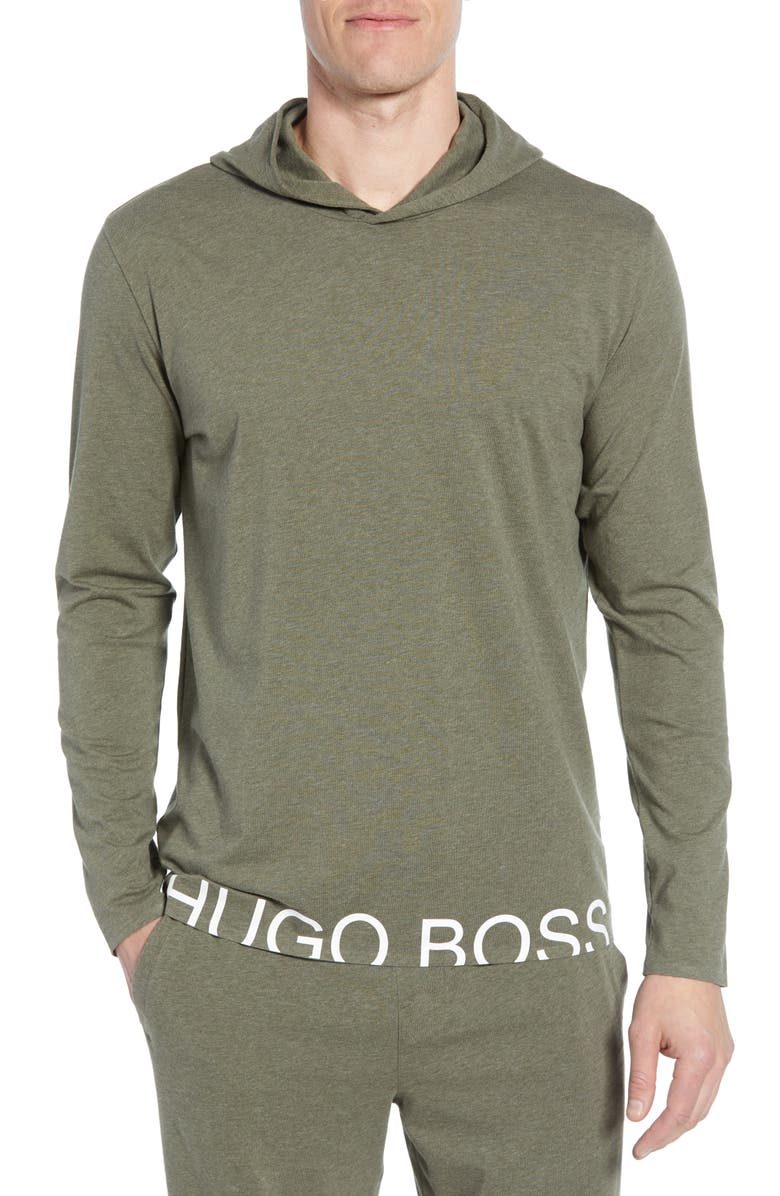 BOSS Identity Stretch Cotton Hoodie, Main, color, GREEN