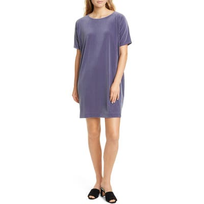Eileen Fisher Stretch Velvet Shift Dress, Grey
