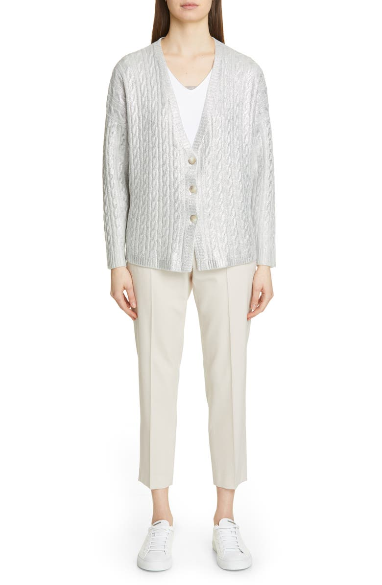 FABIANA FILIPPI Laminated Cashmere Cardigan, Main, color, SILVER