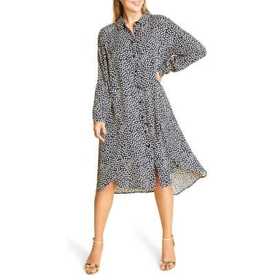 Plus Size Marina Rinaldi Long Sleeve Crepe Dress, Blue