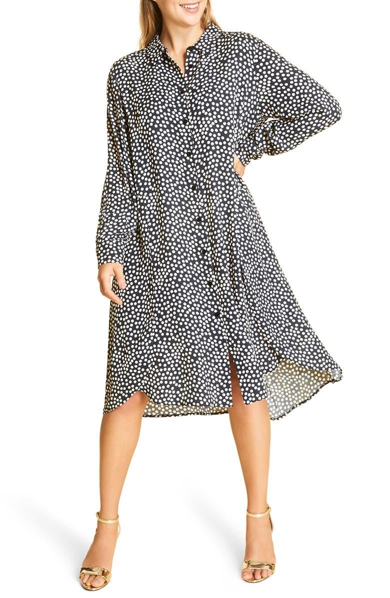 MARINA RINALDI Long Sleeve Crepe Dress, Main, color, 411