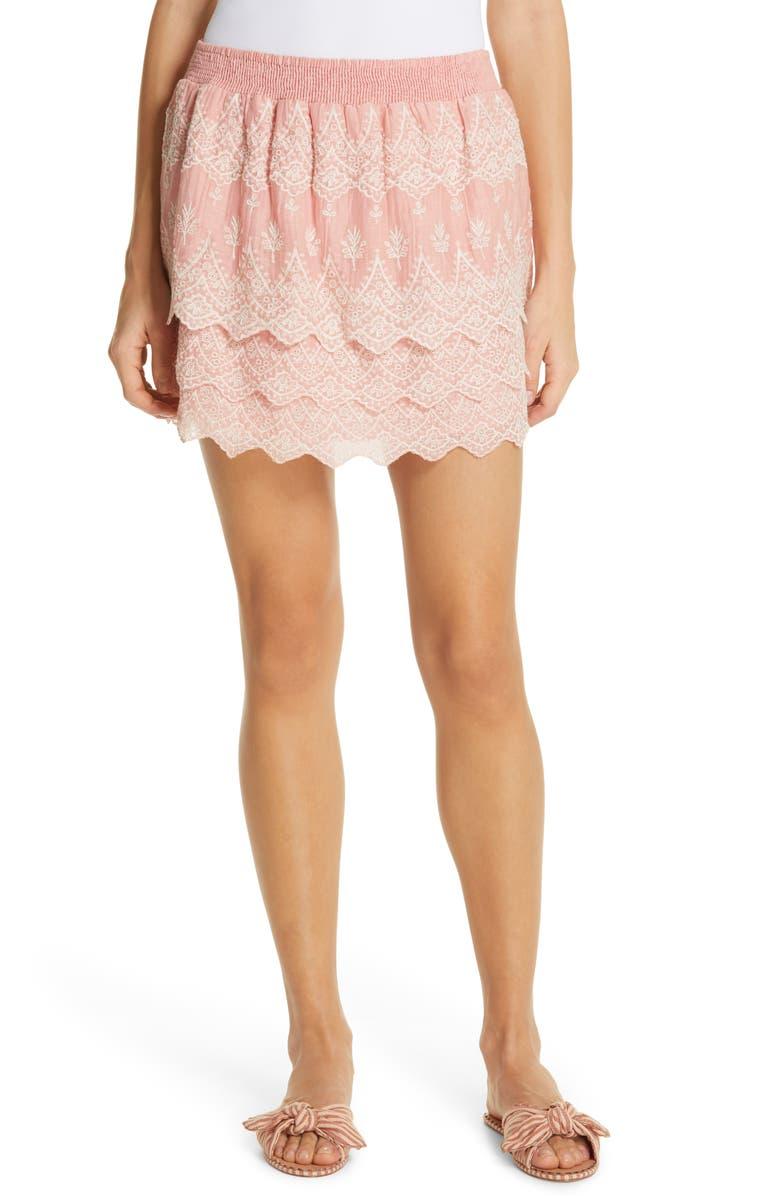LOVE SAM Tallulah Embroidered Cotton & Silk Miniskirt, Main, color, 680