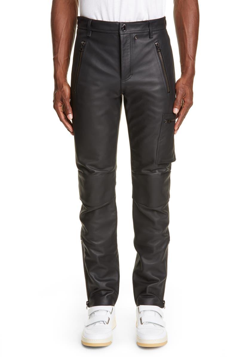 ACNE STUDIOS Ladon Zip Detail Leather Dress Pants, Main, color, BLACK