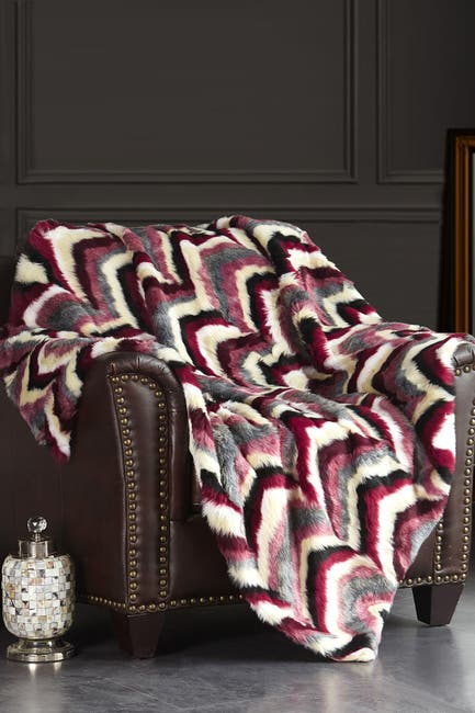"Image of Chic Home Bedding Janina Striped Chevron Shaggy Faux Fur Blanket - 50"" x 60"" - Red"