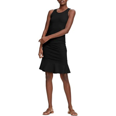 Michael Stars Zaria Sleeveless Shirred Flounce Dress, Black