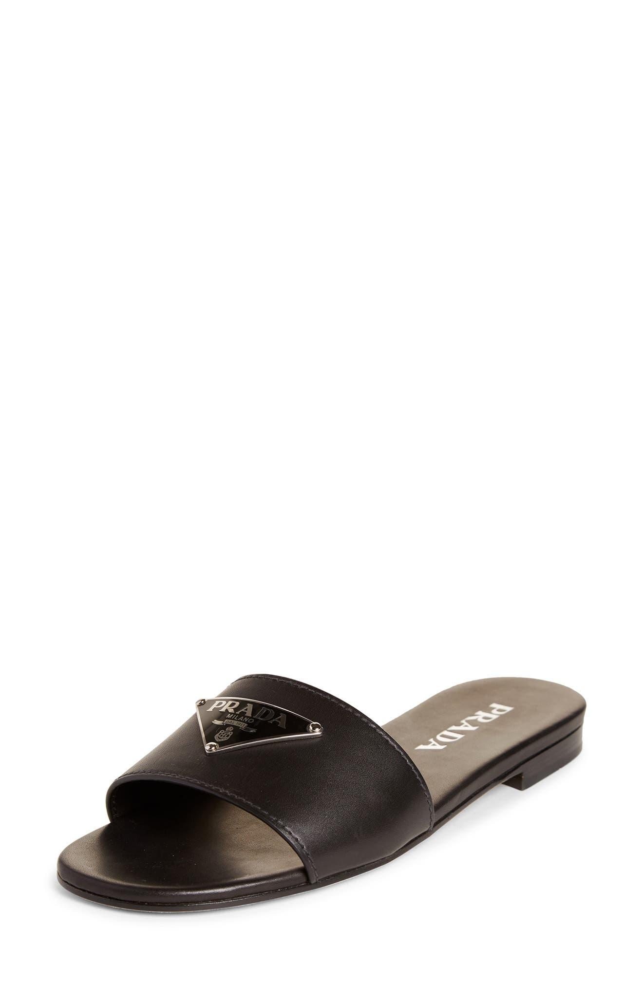 Prada Triangle Logo Slide Sandal (Women
