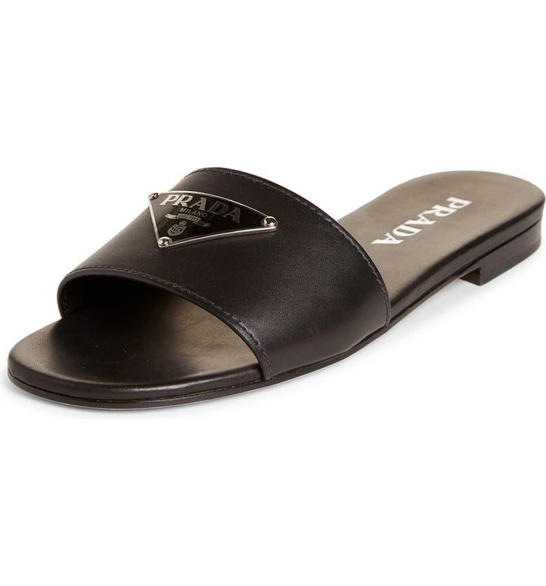 PRADA Triangle Logo Slide Sandal, Main, color, BLACK