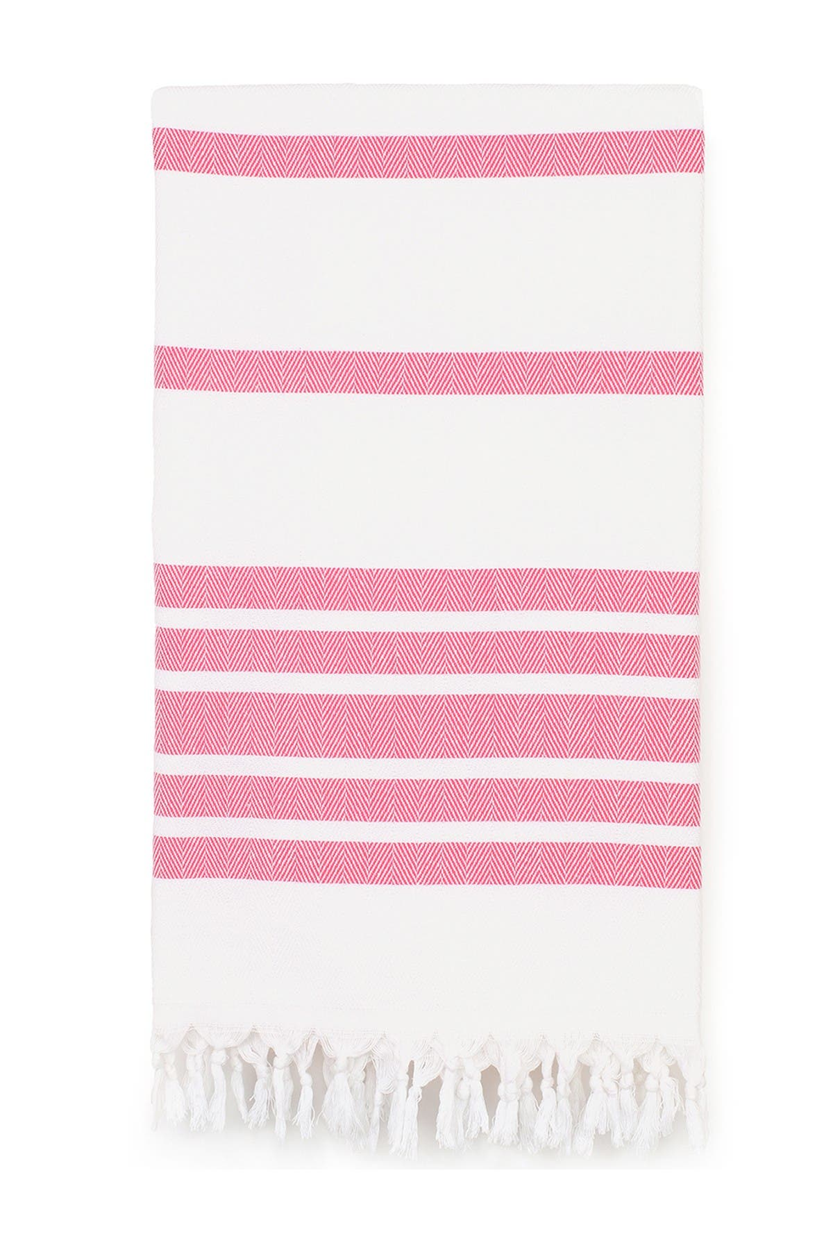 Image of LINUM HOME 100% Turkish Cotton Herringbone Pestemal Beach Towel - Pink & White