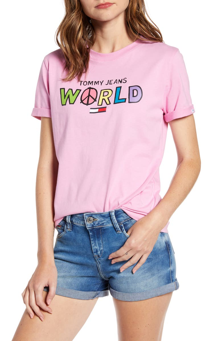 TOMMY JEANS World Graphic Organic Cotton Tee, Main, color, LILAC CHIFFON