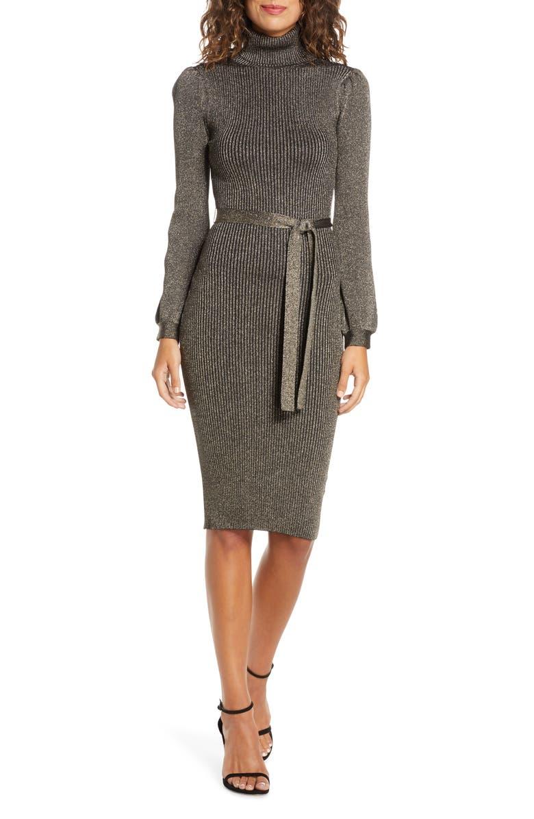 ALI & JAY Shine Bright Long Sleeve Metallic Sweater Dress, Main, color, 220