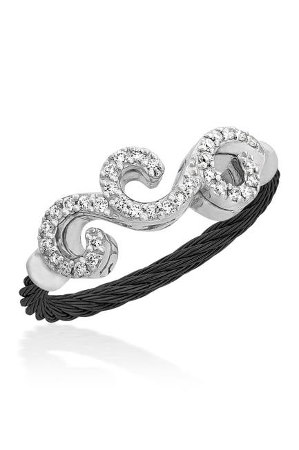 Image of ALOR 18K White Gold & Black Stainless Steel Cable Diamond Filigree Ring - Size 6.5 - 0.15 ctw