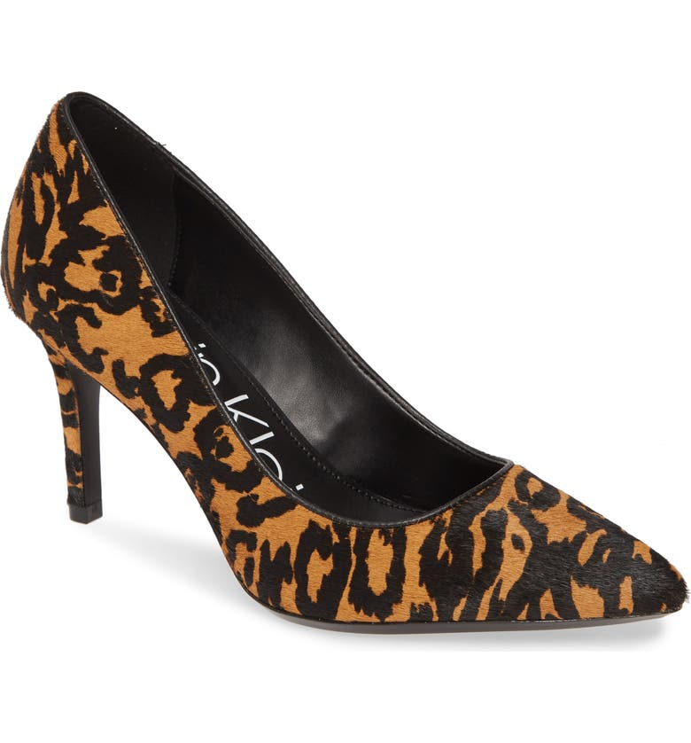 CALVIN KLEIN 'Gayle' Pointy Toe Pump, Main, color, ANIMAL PRINT CALF HAIR