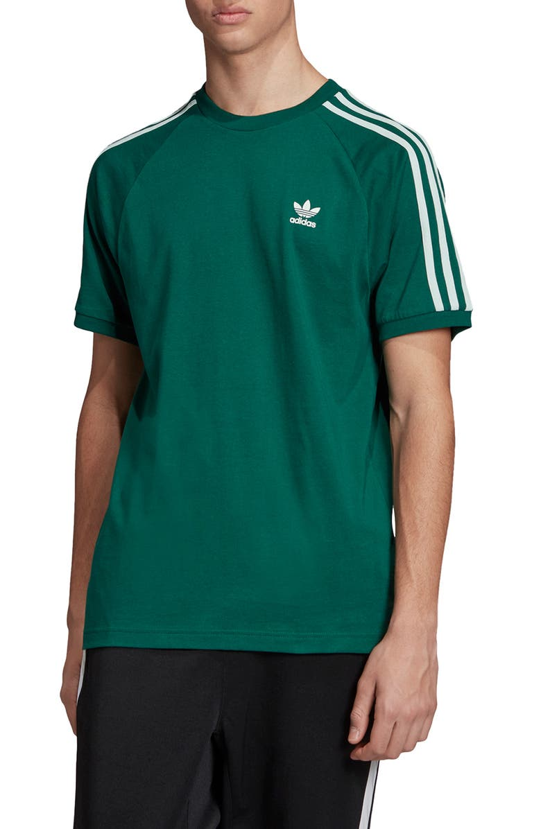 ADIDAS ORIGINALS 3-Stripe Raglan T-Shirt, Main, color, COLLEGIATE GREEN