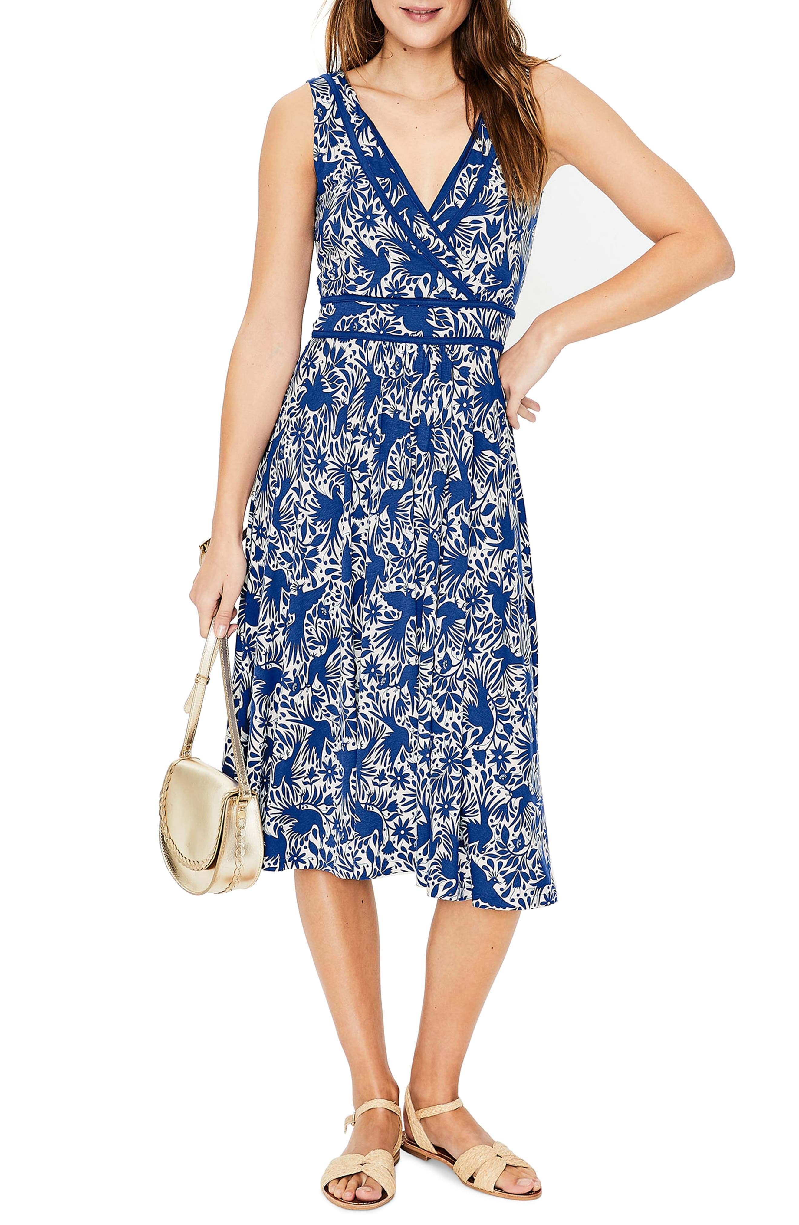 Petite Boden Lorna Faux Wrap Jersey Dress, Blue