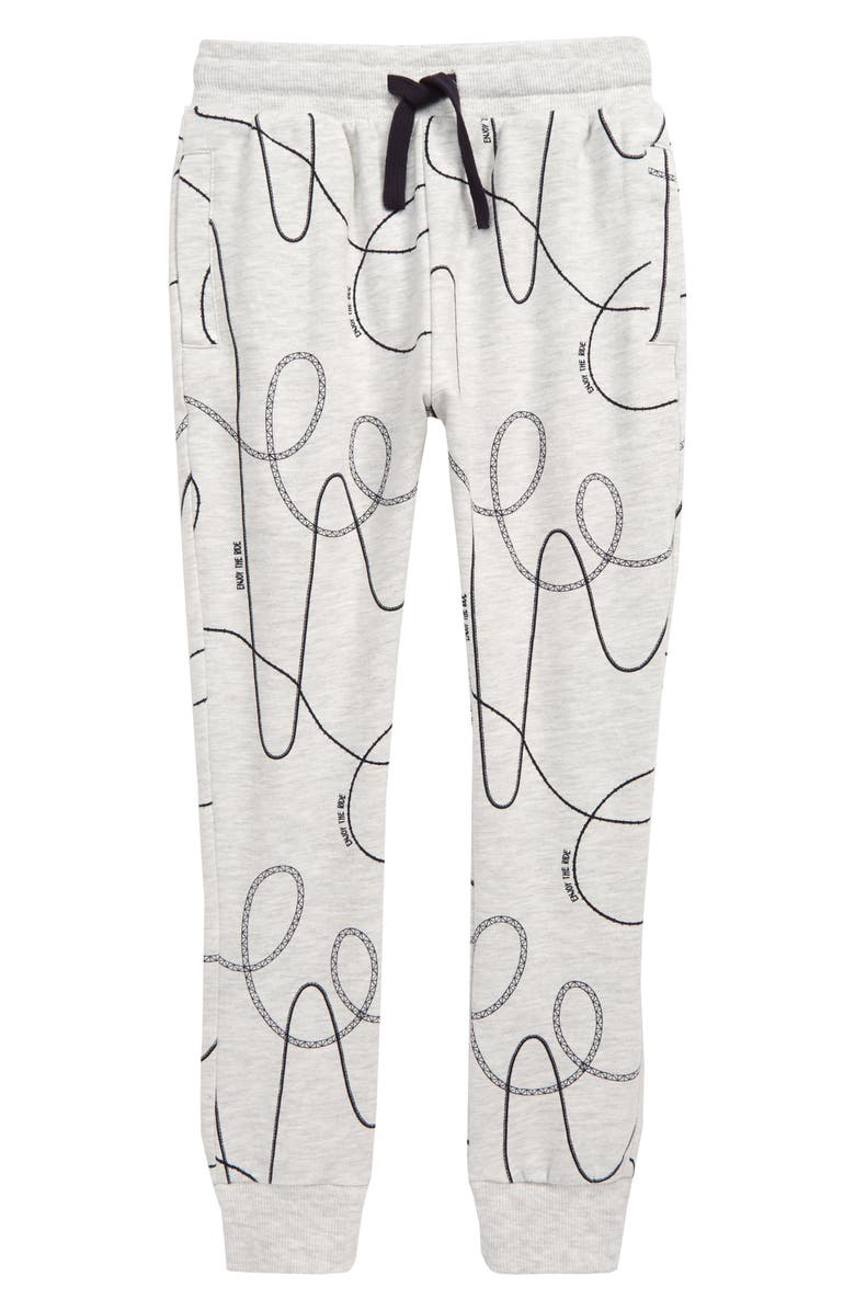 MILES baby Roller Coaster Print Joggers, Main, color, LIGHT HEATHER GREY