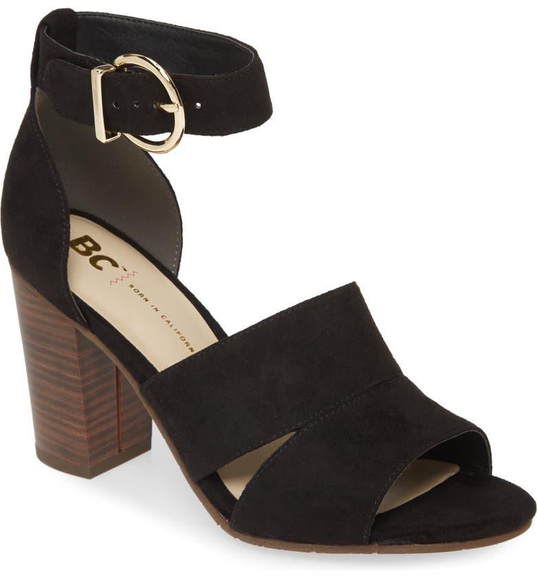 BC FOOTWEAR Empowering Vegan Block Heel Sandal, Main, color, BLACK FABRIC