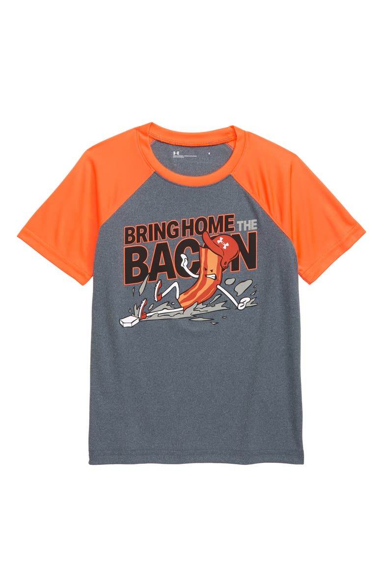 UNDER ARMOUR Bacon Graphic T-Shirt, Main, color, WIRE HEATHER