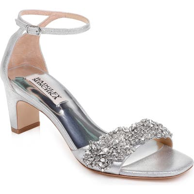 Badgley Mischka Alison Crystal Embellished Ankle Strap Sandal- Metallic