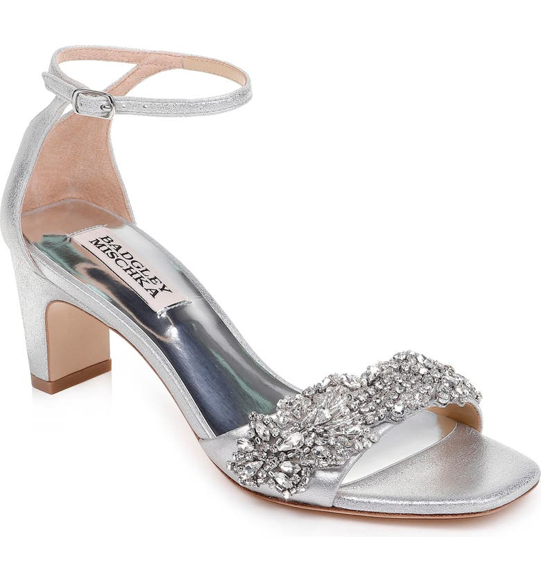 BADGLEY MISCHKA COLLECTION Badgley Mischka Alison Crystal Embellished Ankle Strap Sandal, Main, color, SILVER METALLIC SUEDE