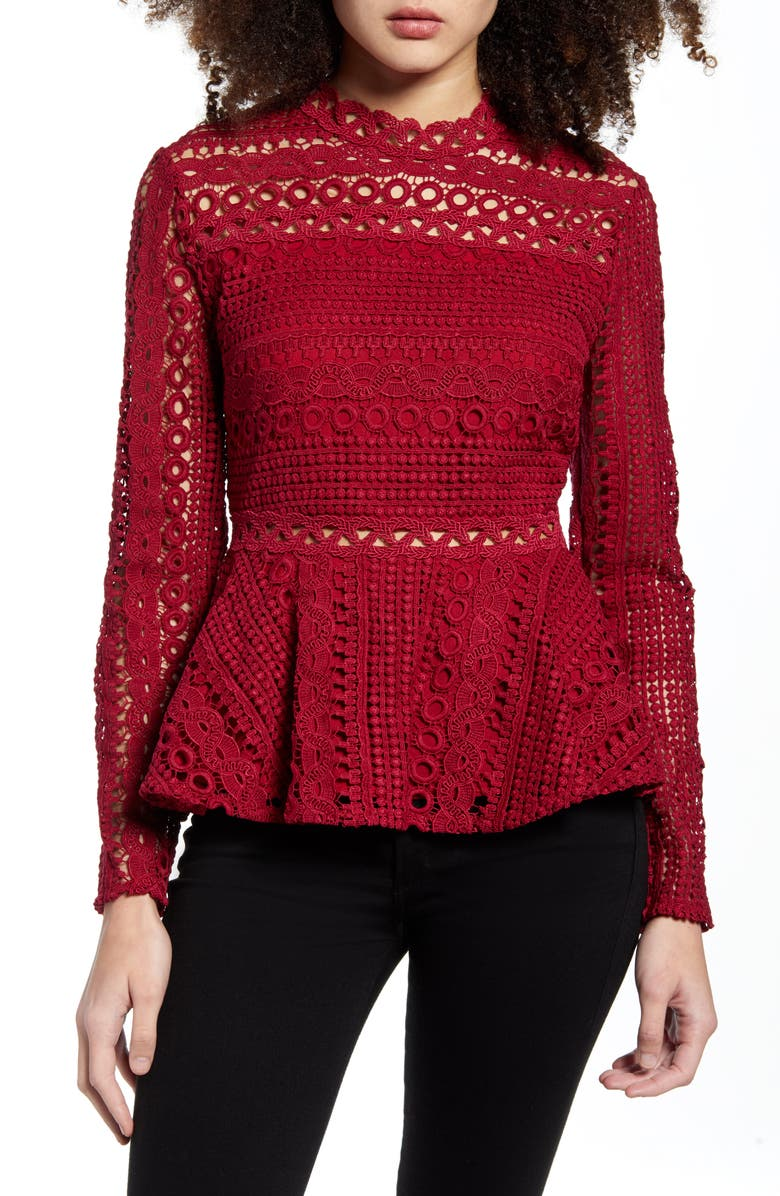 ENDLESS ROSE Crochet Lace Peplum Top, Main, color, BURGUNDY