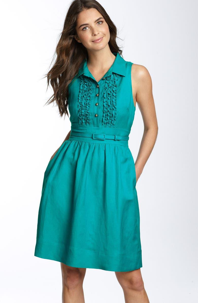 ELIZA J Ruffle Front Linen Blend Shirtdress, Main, color, 440
