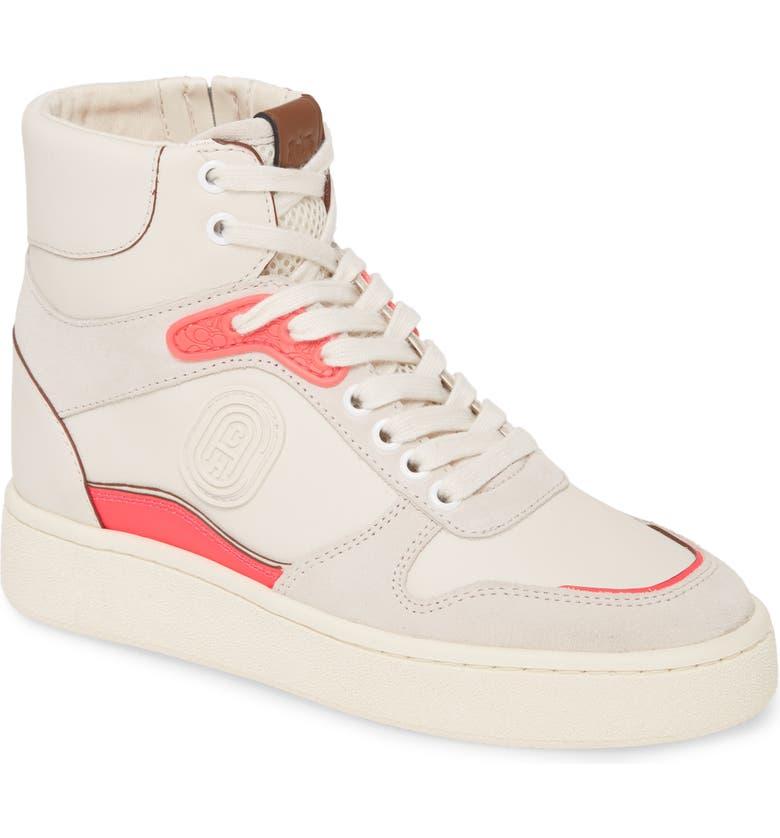 COACH C220 High Top Sneaker, Main, color, CHALK/ PINK MULTI