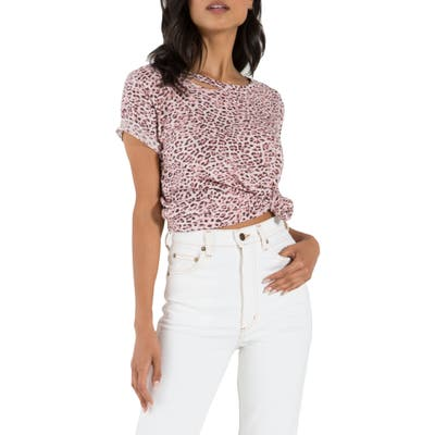 N:philanthropy Harlow Slash Detail Animal Print Tee, Pink
