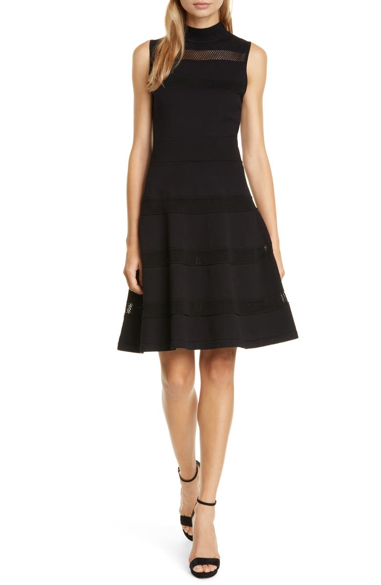 KATE SPADE NEW YORK fit & flare sweater dress, Main, color, 001