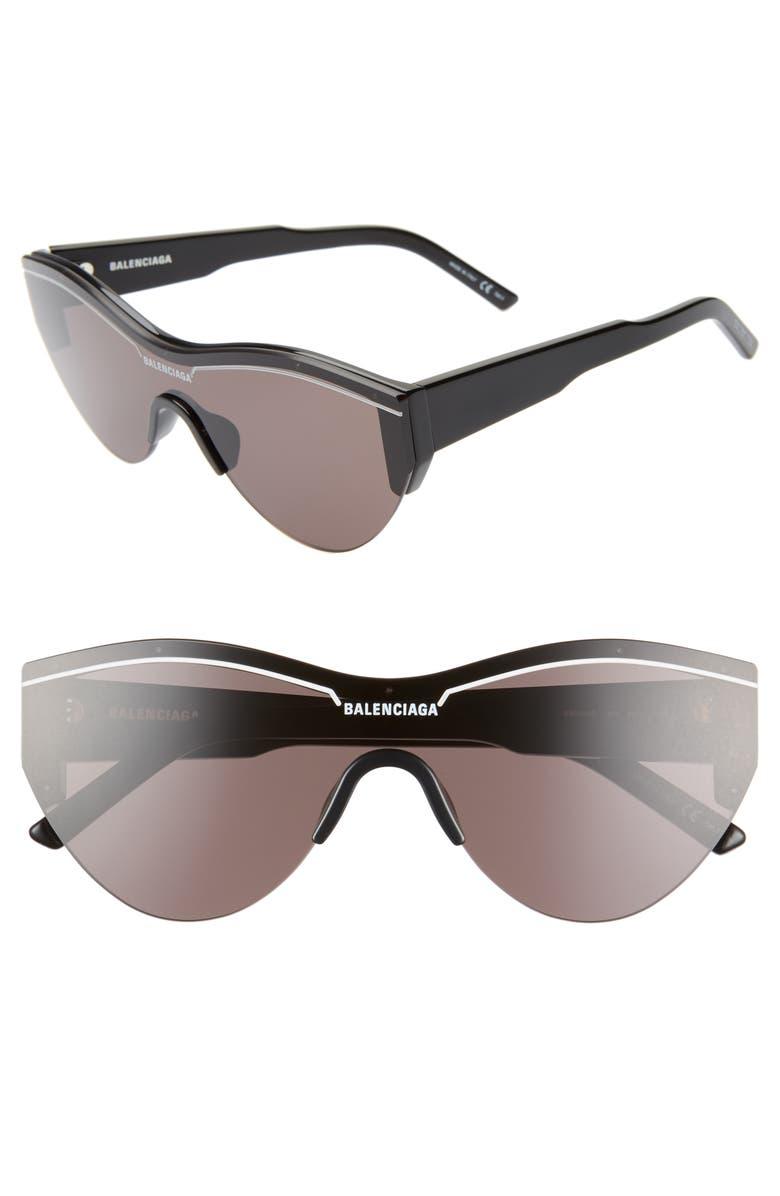 BALENCIAGA 99mm Shield Sunglasses, Main, color, SHINY BLACK/ GREY