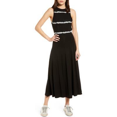 Ninety Percent Stripe Tie Dye Open Back Midi Dress, Black