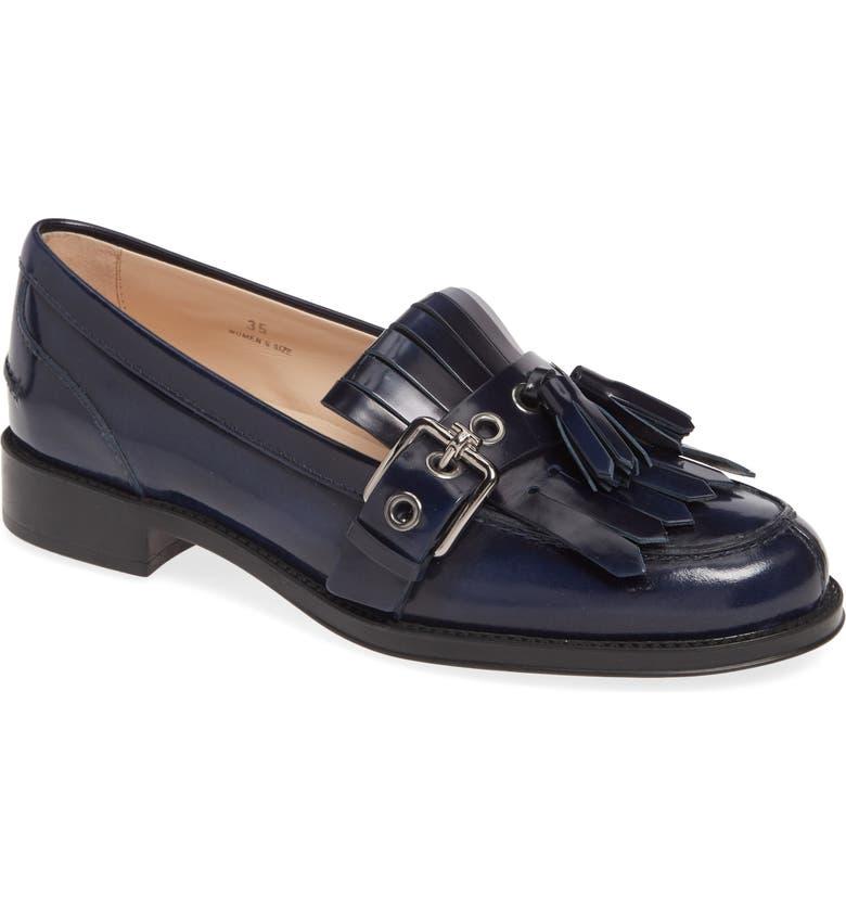 TOD'S Fringe Buckle Loafer, Main, color, BLUE