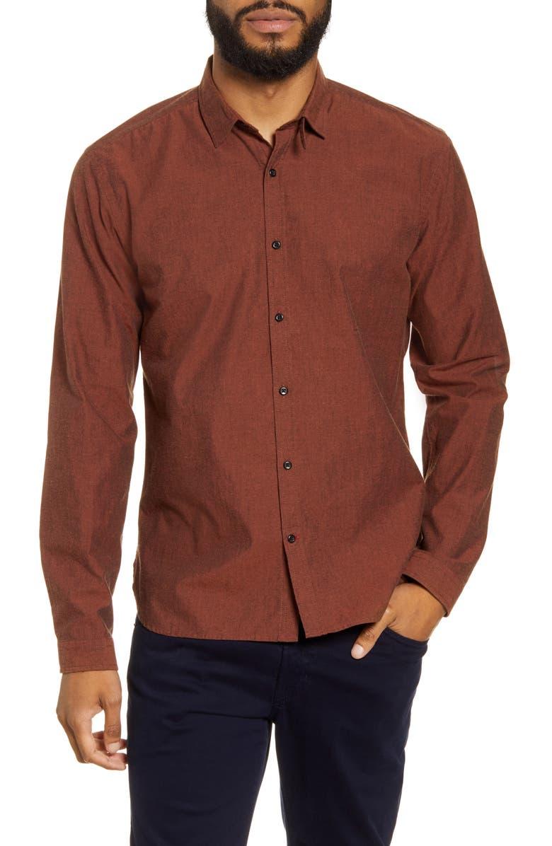 OLIVER SPENCER Clerkenwell Slim Fit Button-Up Shirt, Main, color, BELGRAVE ORANGE
