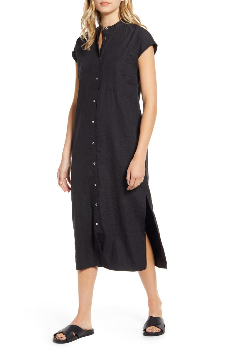 LIRA CLOTHING Liza Midi Shirtdress, Main, color, BLACK